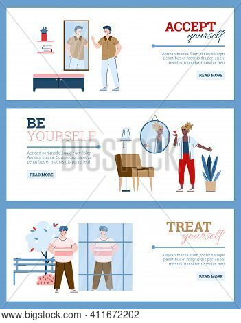 Set Inspirational Banners On Topic Of Self-acceptance And Love Your Body, Cartoon Vector Illustratio