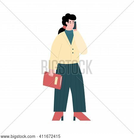 Businesswoman Talking On Mobile Phone. Work Conversation Or Business Negotiations Via Smartphone. Fl
