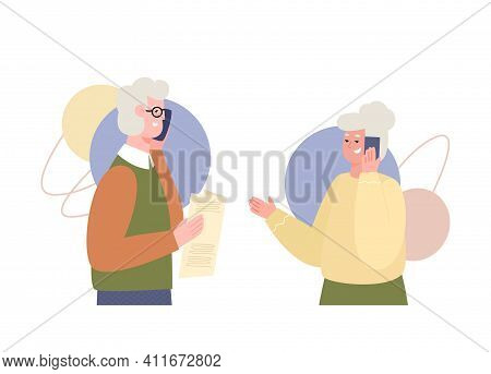Old People Speaking On Mobile Phone. Pensioners A Man And A Woman Talk Via Smartphone With Each To E