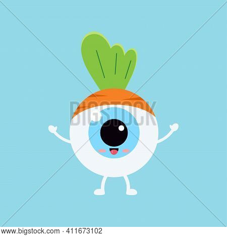 Easter Cute Eye Ball In Carrot Costume Icon. Ophthalmology Easter Eyeball Character With Sweet Orang