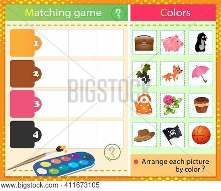 Match By Color. Puzzle For Kids. Matching Game, Education Game For Children. What Color Are The Item