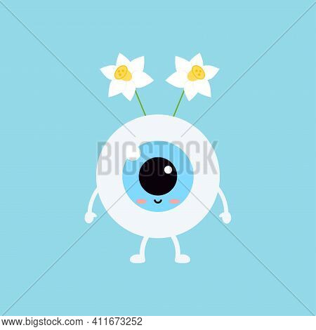 Easter Cute Eye Ball With Narcissus Accessory Icon. Ophthalmology Easter Eyeball Character With Daff