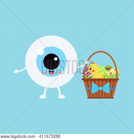 Easter Cute Eye Ball In Egg Costume Icon. Ophthalmology Easter Eyeball Character With Egg Costume De