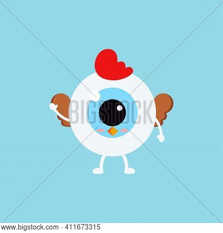 Easter Cute Eye Ball Hen Costume Icon. Ophthalmology Easter Eyeball Character With Hen Bird Wings An