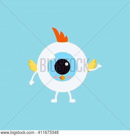 Easter Cute Eye Ball In Chicken Costume Icon. Ophthalmology Easter Eyeball Character With Chick Wing