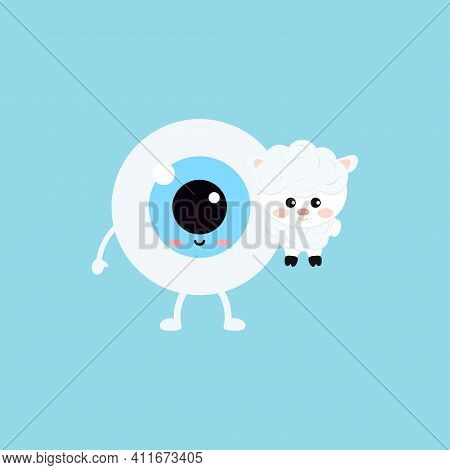 Easter Cute Eye Ball With Sheep Farm Animal Icon. Ophthalmology Easter Eyeball Character With Little