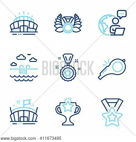 Sports Icons Set. Included Icon As Laureate Medal, Swimming Pool, Victory Signs. Whistle, Arena Stad