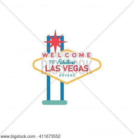 Welcome To Las Vegas Sign. Classic Retro Vector Illustration.