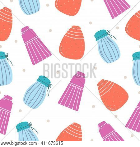 Seamless Pattern With Hand Drawn Colorful Jars For Products On A White Background. Kitchen Utensils