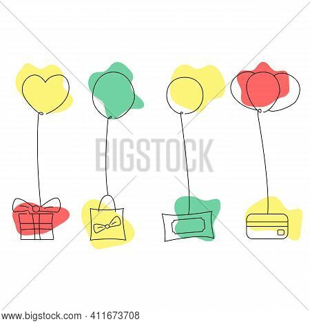 Ballon Gift Set. Linear Style Vector Illustration.