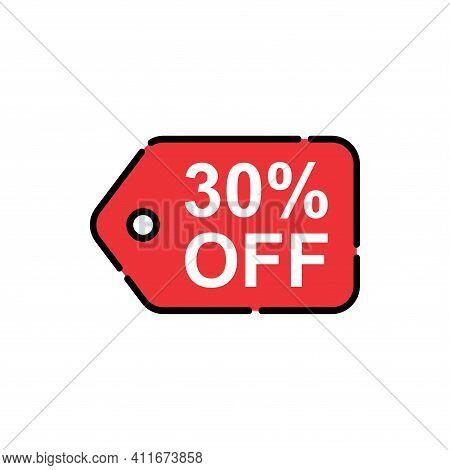 30% Sale Tag Vector Badge Template, 30% Sale Label Collection, Clearance Sale Sticker Emblem, Bargai