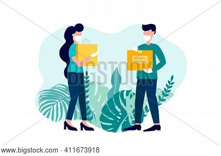 Courier Protected Medical Mask And Gloves. Safe Food Delivery And Stay Home. Vector Illustration