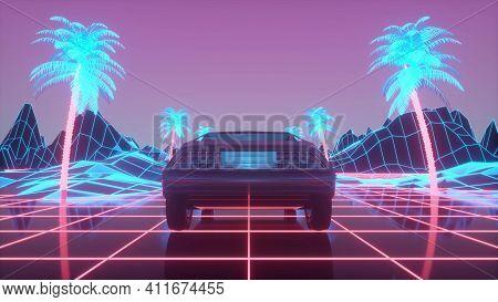 Retro-futuristic 80s Style Sci-fi Car Background. 3d Illustration.