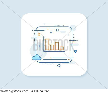 Histogram Column Chart Line Icon. Abstract Square Vector Button. Financial Graph Sign. Stock Exchang