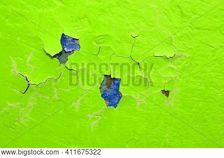 Background of peeling paint texture, background of green peeling paint on the texture concrete background, peeling paint background