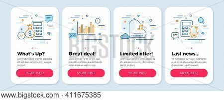Set Of Education Icons, Such As Piano, Bar Diagram, Finance Calculator Symbols. Mobile App Mockup Ba