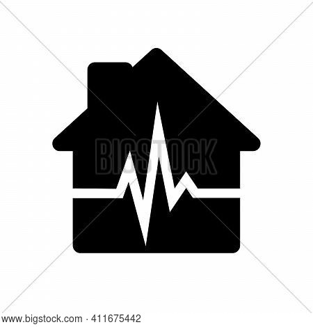 House Icon. Black House Icon With Heartbeat Sign. Vector Illustration. Heartbeat Icon