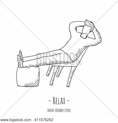 Relax Icon. Vector Illustration. Isolated On White.