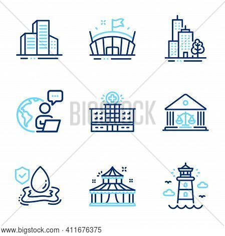 Buildings Icons Set. Included Icon As Hospital Building, Lighthouse, Buildings Signs. Court Building