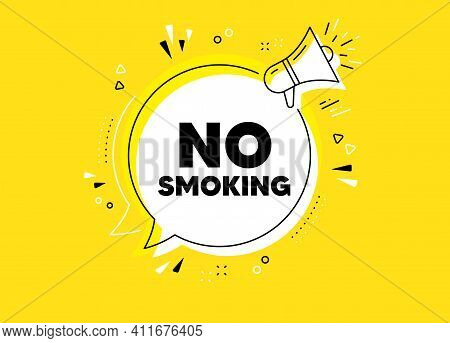No Smoking Banner. Megaphone Yellow Vector Banner. Stop Smoke Sign. Smoking Ban Symbol. Thought Spee