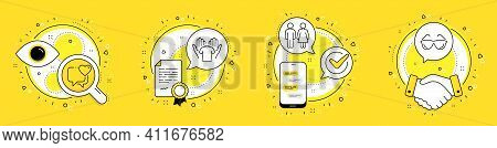 Heart, Restroom And Hold T-shirt Line Icons Set. Licence, Cell Phone And Deal Vector Icons. Eyeglass