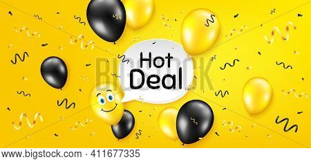 Hot Deal. Balloon Confetti Vector Background. Special Offer Price Sign. Advertising Discounts Symbol