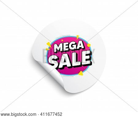 Mega Sale Bubble. Circle Sticker With Offer Banner. Discount Banner Shape. Coupon Sticker Icon. Roun
