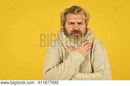 Weak Immunity To Virus Infection. Man With Cold Feel Fever. Brutal Male Cough And Runny Nose. Winter