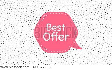 Best Offer. Pink Speech Bubble On Polka Dot Pattern. Special Price Sale Sign. Advertising Discounts