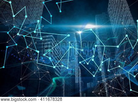 Glowing blue and green network of connections against tall buildings. global networking and business concept
