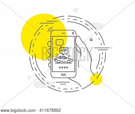 Vip Transfer Line Icon. Mobile Phone Vector Button. Very Important Person Transport Sign. Luxury Tax