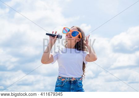 Young And Carefree. Singing Songs In Karaoke. Lifestyle And People Concept. Make Your Voice Louder.