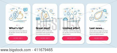 Set Of Nature Icons, Such As Rainy Weather, Apple, Bio Tags Symbols. Mobile App Mockup Banners. Pump