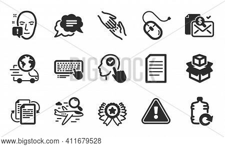 Computer Keyboard, Helping Hand And Bureaucracy Icons Simple Set. Face Attention, Select User And Re
