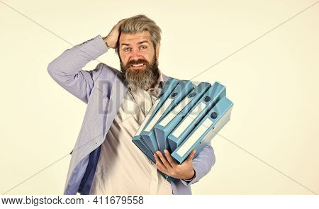 Project Curator. Project Manager. Man Carry Lot Of Folders. Work With Documents. Search Archives. Pa