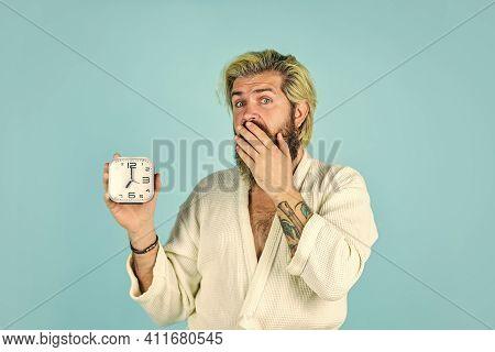 Noise Of Alarm Clock. Man Awake With Alarm Clock Ringing. Guy In Bathrobe. Wake Up In Morning. Time