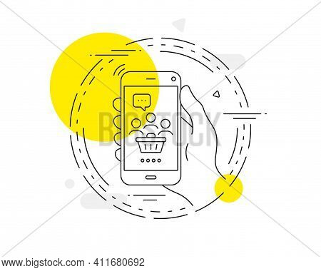Buyers With Shopping Cart Line Icon. Mobile Phone Vector Button. Customers Group Sign. Supermarket C