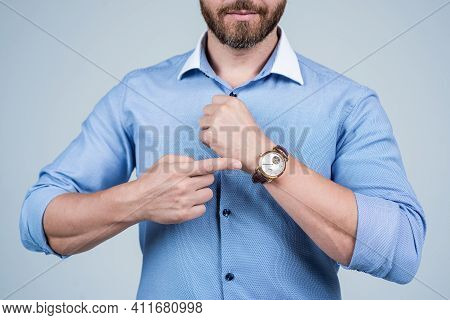 Look At Watch Face. Bearded Man Cropped View Point At Wrist Watch. Time Management. Deadline. Punctu