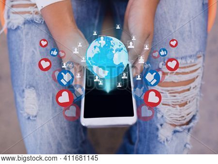 Network of social media icons and globe over woman using smartphone. social media networking and technology concept