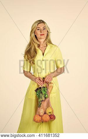 Bag With Groceries. Reusable Eco Bag. Conscious Consumption. Eco Trend. Zero Waste Concept. Woman Ho