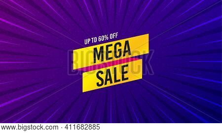 Mega Sale Sticker. Purple Background With Offer Message. Discount Banner Shape. Coupon Tag Icon. Bes