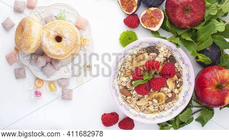 Healthy Food Background With Homemade Oatmeal Granola Or Muesli With Yogurt And Fresh Berries For He