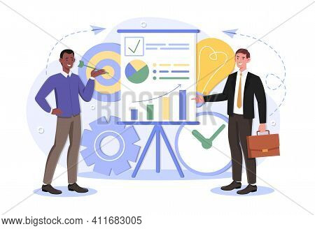 Shareholder Or Top Manager With Office Worker Study Infographics, Analyze Kpi, Growth Chart During O