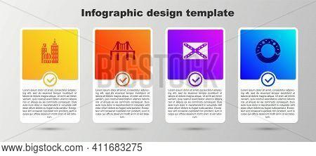 Set City Landscape, Golden Gate Bridge, Flag Confederate And Donut. Business Infographic Template. V