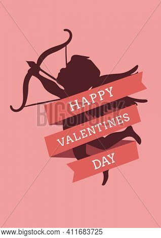 Happy valentines day text with illustration of cherub with bow on pink background. valentine's day, love, romance and marriage concept digitally generated image.