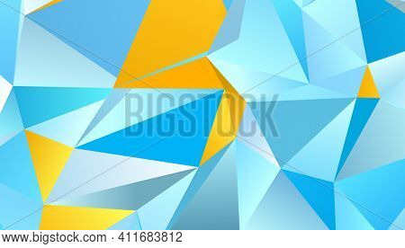 Abstract blue and orange triangle background, low poly 3D illustration, geometric polygon pattern