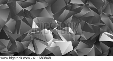 Abstract grey triangle background, low poly 3D illustration, geometric polygon pattern