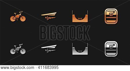 Set Bicycle, Hang Glider, Skate Park And First Aid Kit Icon. Vector