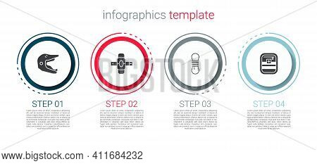 Set Motocross Motorcycle Helmet, Knee Pads, Climber Rope And First Aid Kit. Business Infographic Tem