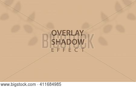 Overlay Shadow Effect. Mockup Of Transparent Leaf Shadow Overlay Effect. Vector Background